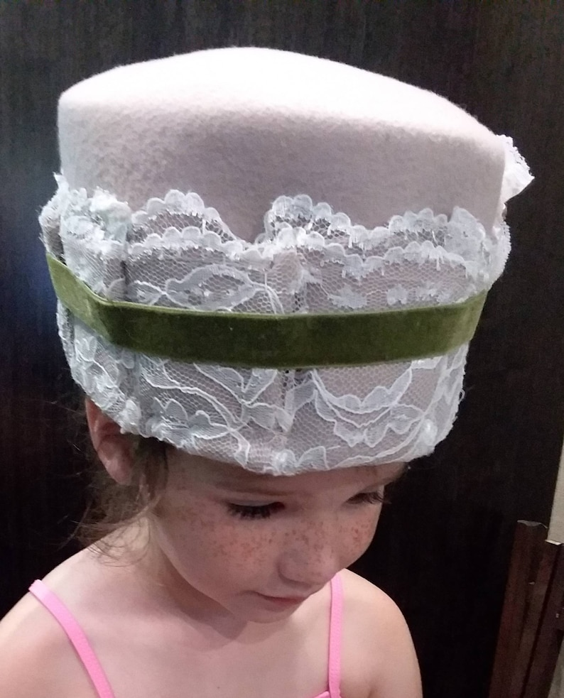 Vintage Inspired Handmade Pillbox Ladies Hat Beige Felt with Lace and Roses