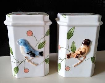 Haldon Group Japanese salt /& pepper shakers embossed birds hand painted cherries