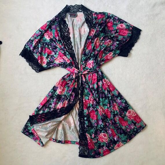 Vintage Floral Lace Silk Robe - image 1