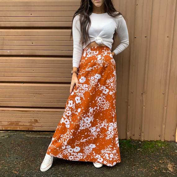 Vintage 70s Brown Floral Maxi Skirt