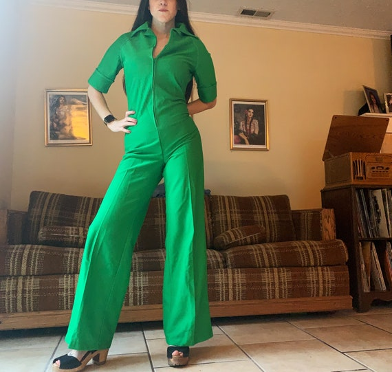70s Polyester Green Jumpsuit