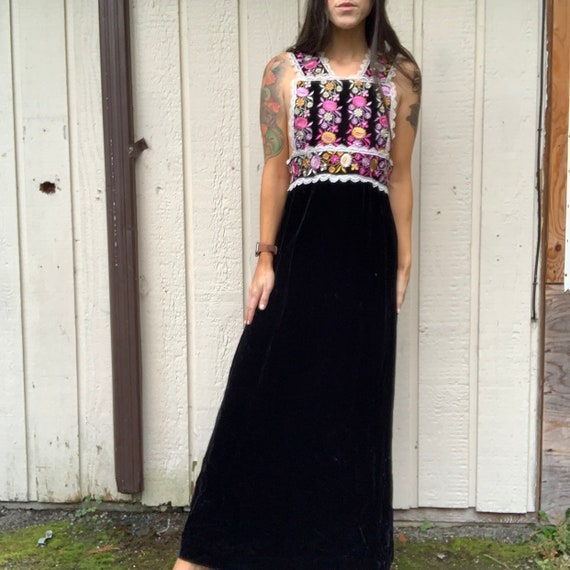 Vintage 70s Embroidered Velvet Maxi Dress