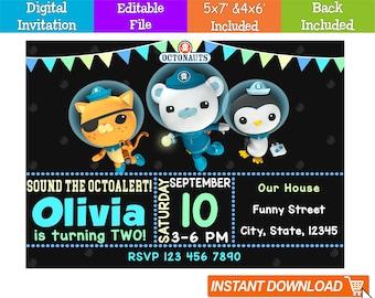 Editable Octonauts Invitation Digital Instant Download Birthday