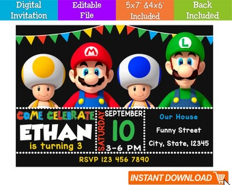Editable Super Mario Invitation Digital Instant Download Birthday