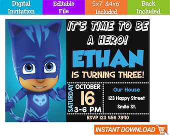 Editable PJ Masks Invitation Digital Instant Download Birthday