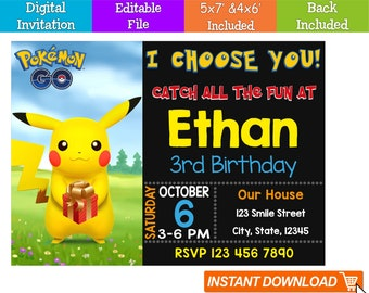 Editable Pokemon Invitation Digital Go Instant Download Birthday