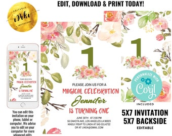 Blush Pink Floral Babys First Birthday Party Invitation Editable Printable 1st Invite Template Boho Girl One Instant Download