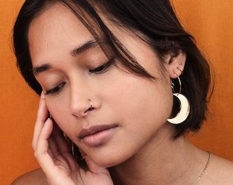 Crescent Moon Hoop Earrings in Various Colours, Moon Earrings, Acrylic Jewellery, Christmas Present, Gift Ideas