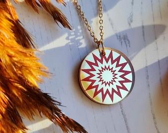 Sunburst Coin Pendant, Minimal Jewellery, Autumn Sun Necklace, Celestial Jewellery, Charm Necklace, Sun Coin Necklace, Layering Necklace