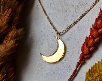 Mini Moon Pendant, Minimal Jewellery, Autumn Moon Necklace, Celestial Jewellery, Charm Necklace, Layering Necklace