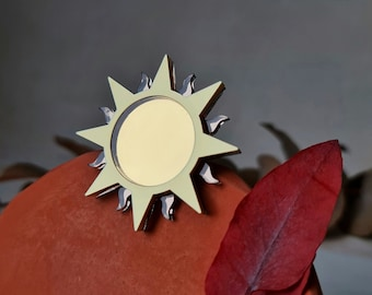 Sun Brooch, Sun and Moon Jewellery, Harvest Moon Brooch, Pagan Gifts, Witchy Jewellery, Acrylic Brooch