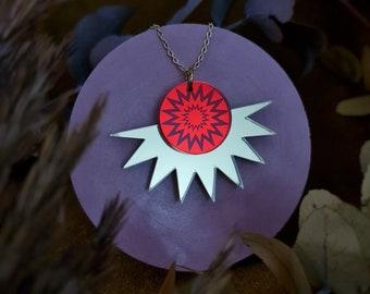 Sunburst Pendant, Autumnal Jewellery, Autumn Sun Necklace, Celestial Jewellery, Acrylic Sunburst Necklace