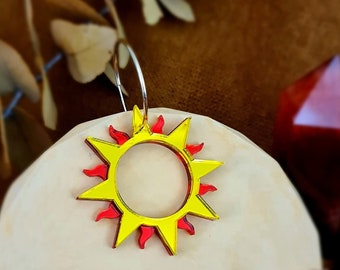 Open Sun Circle Earrings, Mirror Sun Necklace, Pagan Gifts, Witchy Jewellery, Golden Celestial jewellery, Sunshine Earrings