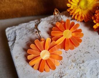 Orange Daisy Gerbera Earrings, Statement Acrylic Earrings, Flower Jewellery, Daisy Hoop Earrings, Vibrant Orange Jewellery, Boho Florals