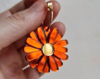 Mirror Orange Daisy Gerbera Earrings, Statement Acrylic Earrings, Flower Jewellery, Daisy Hoop Earrings, Boho Florals