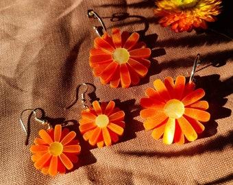 Mini Daisy Gerbera Earrings, Acrylic Earrings, Daisy Earrings, Vibrant Orange Jewellery, Boho Florals, Bohemian Jewellery
