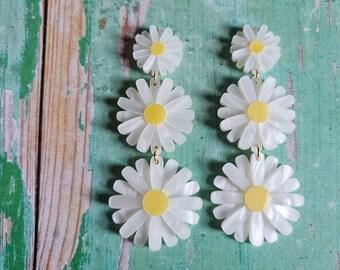 Statement Daisy Drop Earrings, Floral Earrings, Acrylic Statement Jewellery