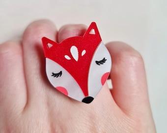 Fox Ring, Folk Art Ring, Folk Fox Jewellery, Colourful Acrylic Ring, Fun Jewellery, Acrylic Ring