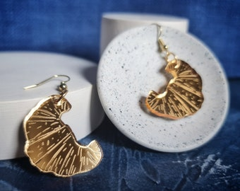 Croissant Earrings, Mirror Gold Acrylic Earrings, Gifts for Foodies, Pastry Jewelery