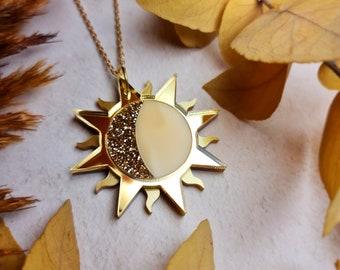 Gold Sun and Moon Pendant, Crescent Moon, Celestial Jewellery, Sun Necklace