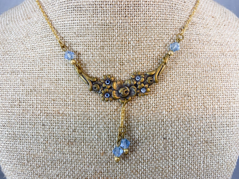 Flowered Costume Necklace with Ice Blue Accent Stones and Beads