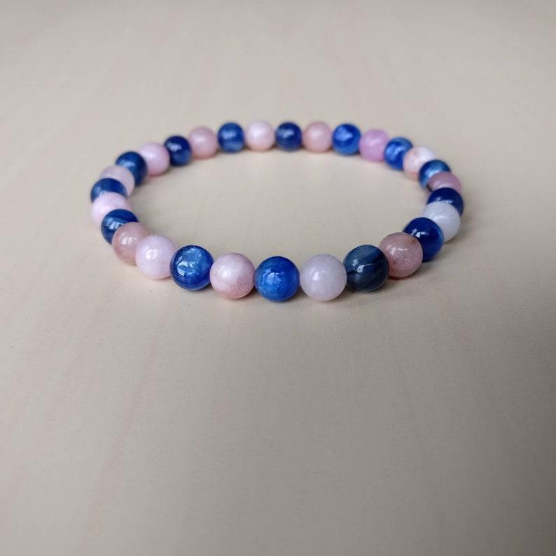 Chakra Balancing Bracelet 6mm Kyanite /& Cherry Jasper Mala Bracelet Graduation gift Dainty Gemstone Bracelet Gift for her Yoga Jewelry
