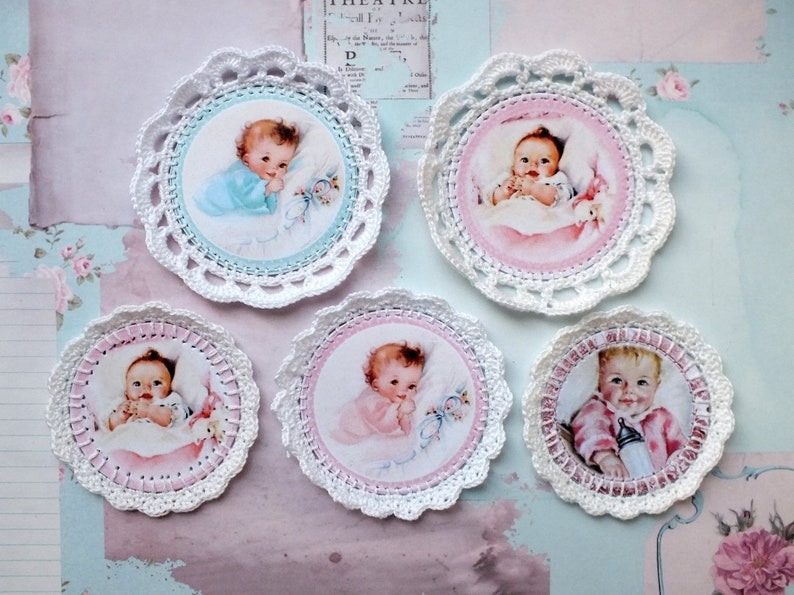 Set of tied pictures  Openwork decor for scrapbooking