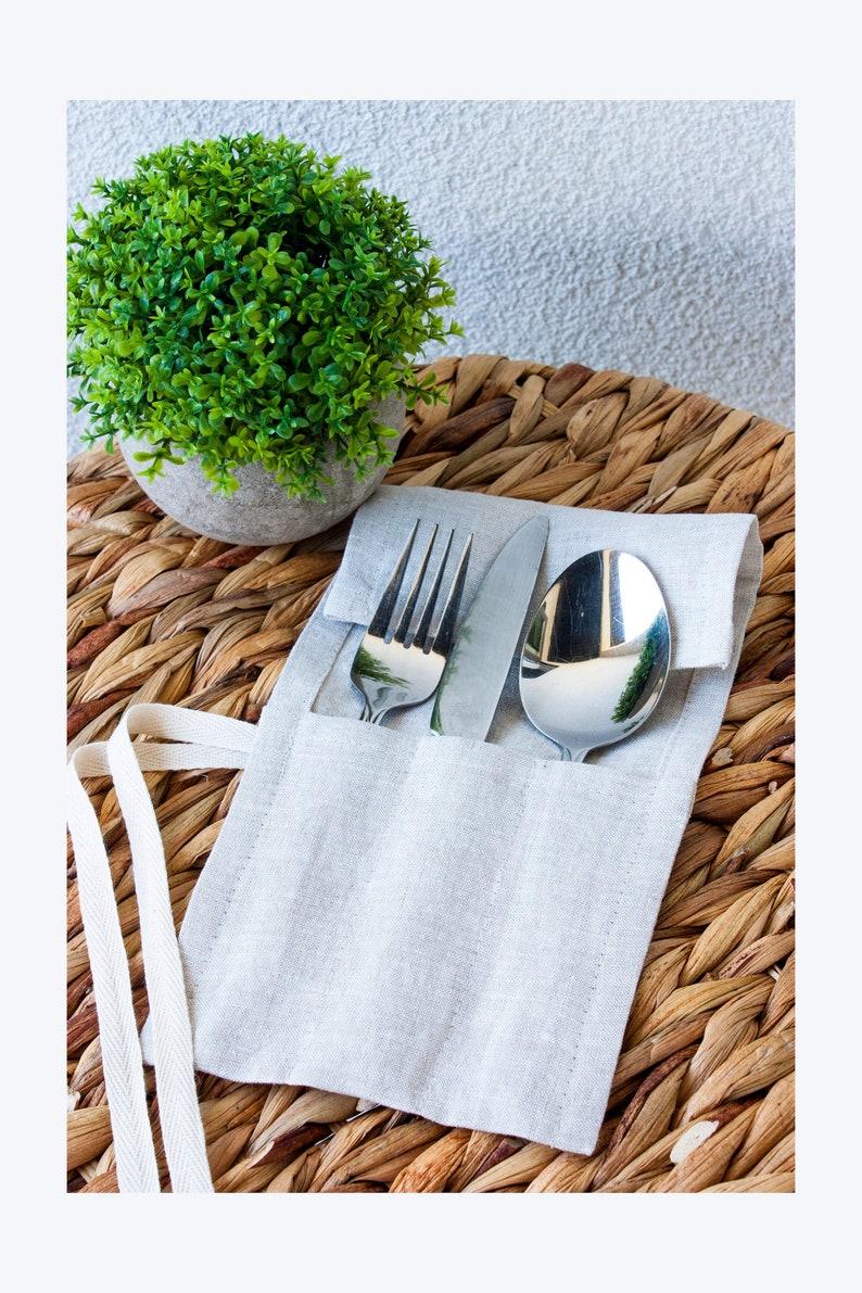 Cutlery Holder Travel Cutlery Silverware Holder Flatware Holder Cutlery Wrap Straw Pouch Linen Cutlery Roll Cutlery Pouch