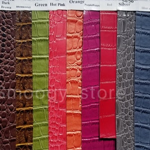 Big Nile Crocodile Faux Fake Leather Vinyl Fabric DEATH BLACK By Yard Embossed Upholstery Synthetic Grain