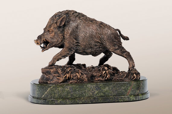 Bronze Wild Boar Figurine Brown Bronze Aper On A Marble Base Etsy