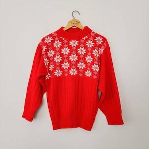 Brown and Cream Snowflake Pattern Vintage Men\u2019s Pure New Wool Christmas Jumper