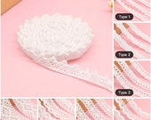 5 Yards White Floral Lace Trim Crochet Dolls Decorative Cotton Lace Trim Gift Wrapping Scrapbooking Sewing Craft Supplies DIY