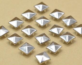 Ziernieten 500 Stück Pyramidennieten 10x10mm Pyramiden Nieten silber
