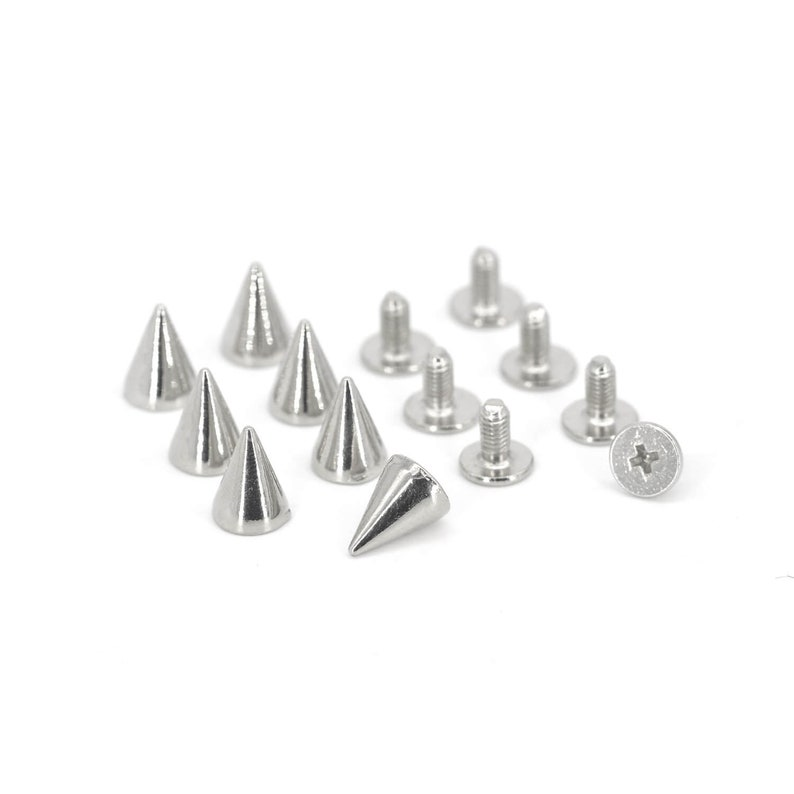 50PCS SILVER Cone Rivets Screw Punk Studs Leather Craft