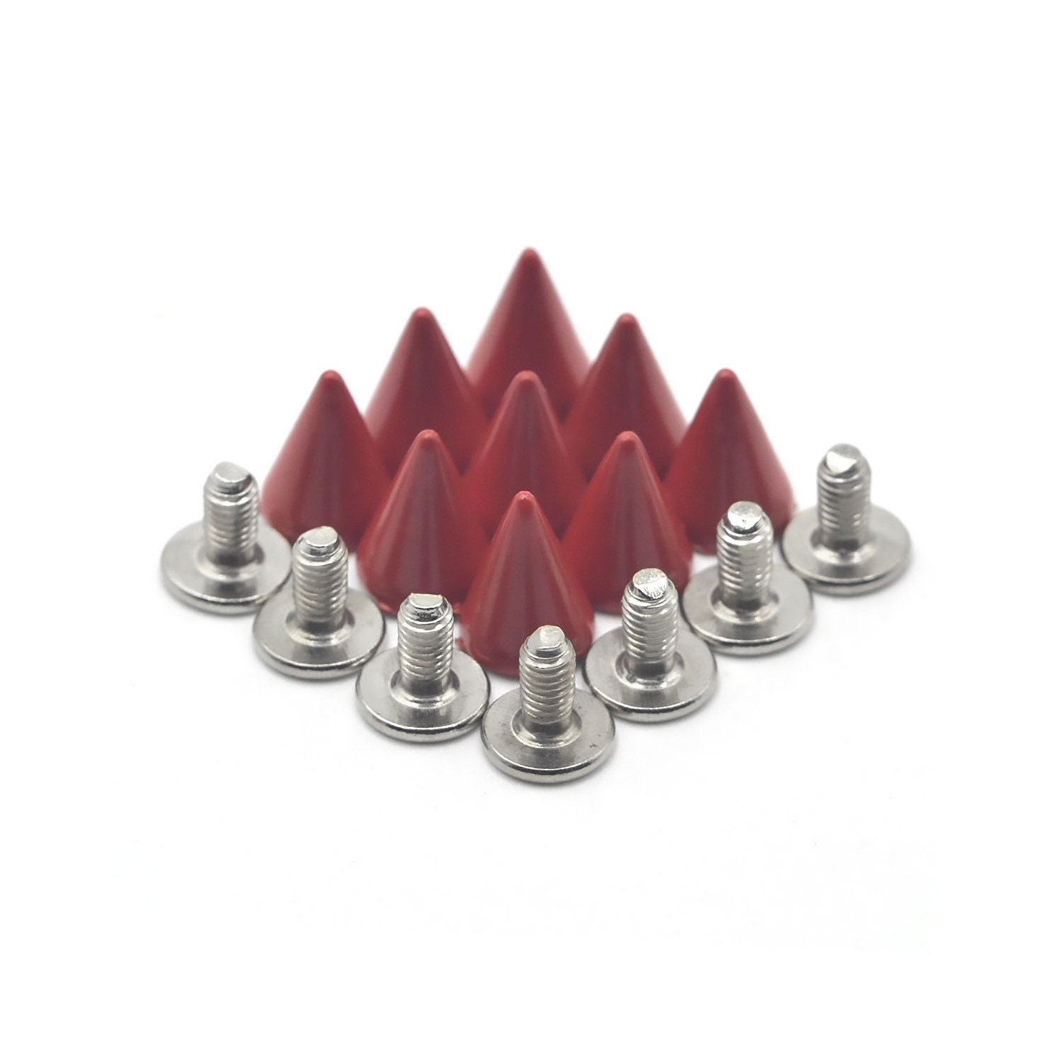 50PCS RED Cone Rivets Screw Punk Studs Leather Crafts B