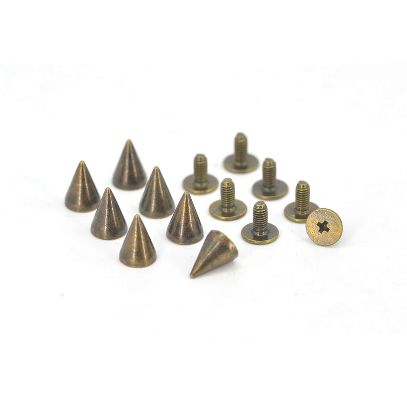 50PCS BRONZE Cone Rivets Screw Punk Studs Leather Craft