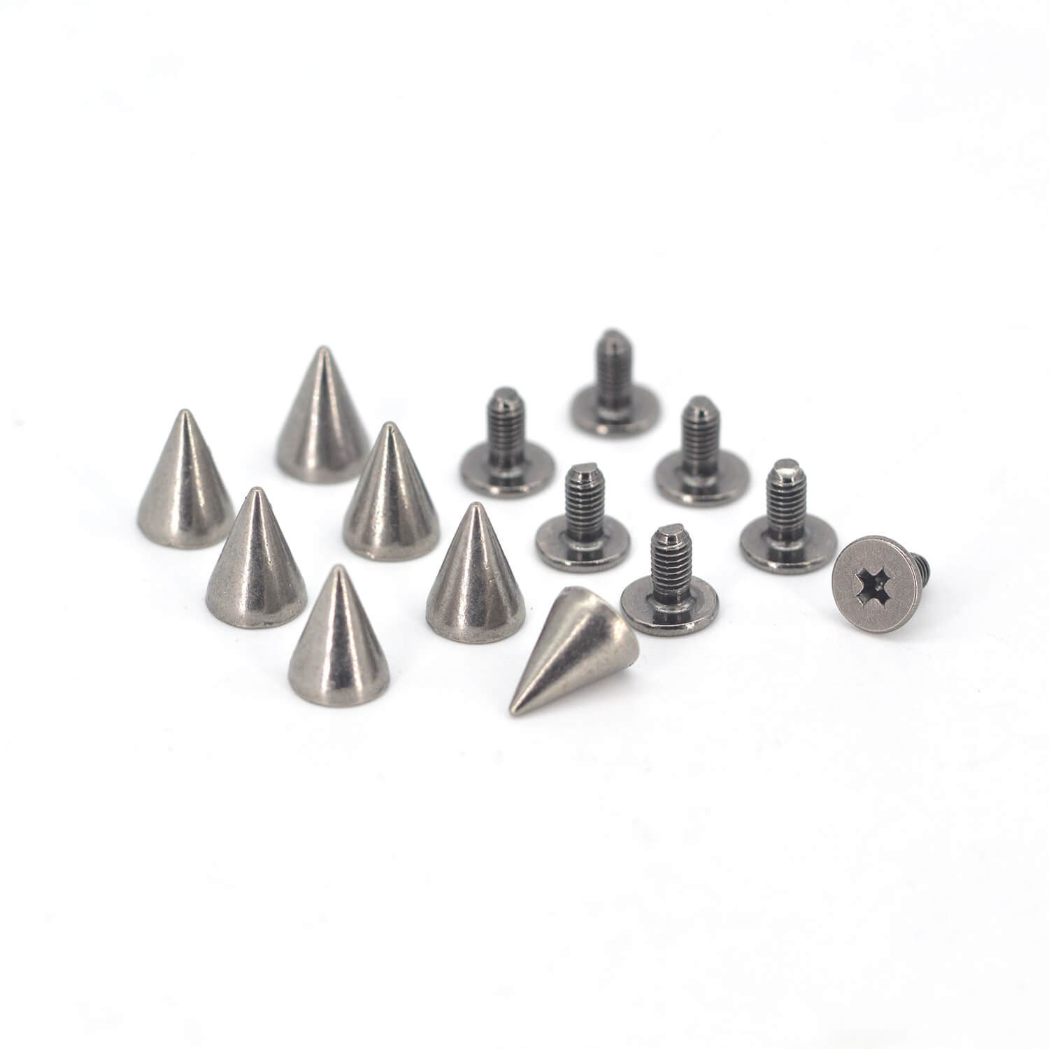 20PCS GUN BLACK Cone Rivets Screw Punk Studs Leather Cr