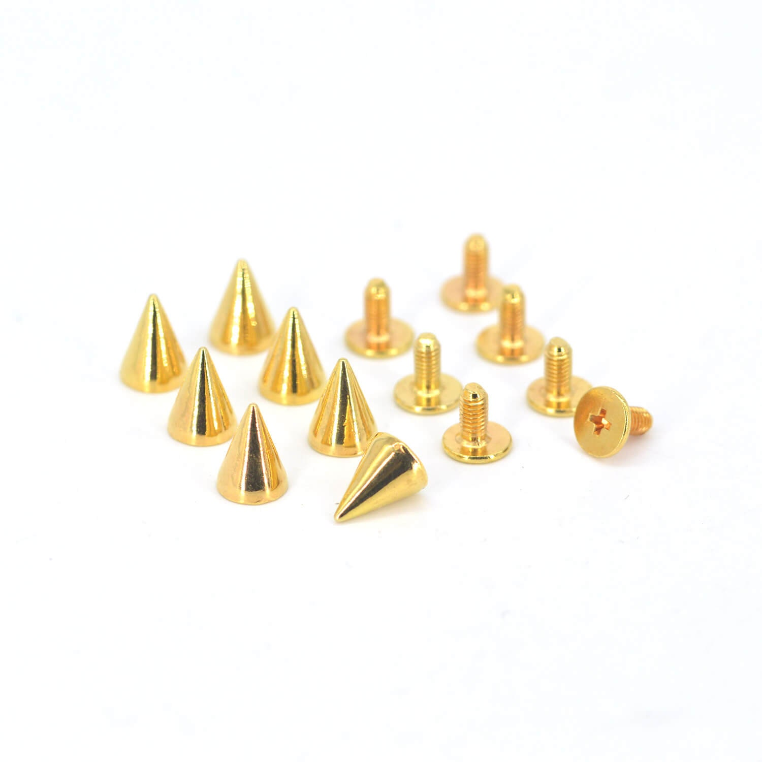 50PCS GOLD Cone Rivets Screw Punk Studs Leather Crafts