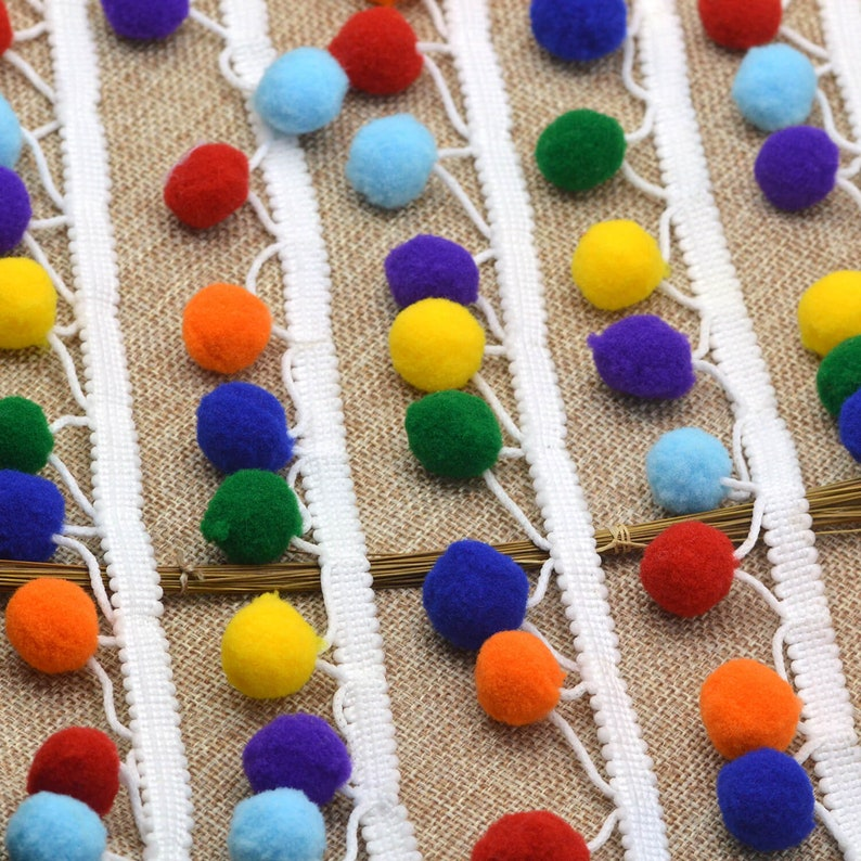 Craft Supplies DIY Pom Pom Trim Ball Pearl Pompom Fringe Ribbon Sewing Knitted Fabric Handmade Craft Accessories 15mm