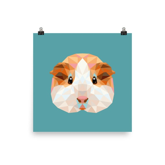 Geometric Guinea Pig Illustration Low Poly Room Wall Etsy