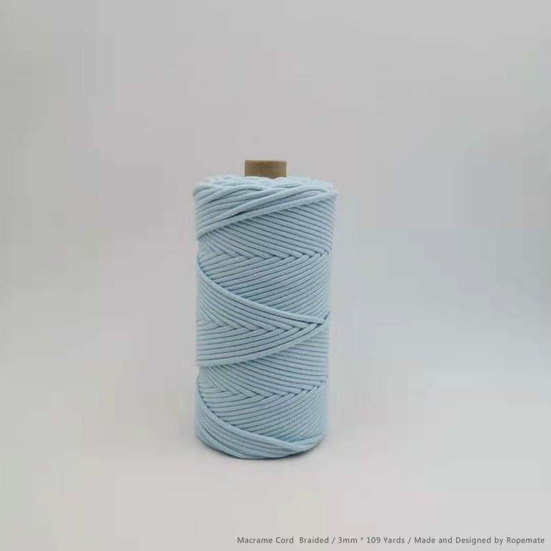 Baby Blue 3mm 109 Yards Braided Macrame Cord with core  Dould Braided Cotton Rope  Macrame Bag Rope  Cored Cotton Rope