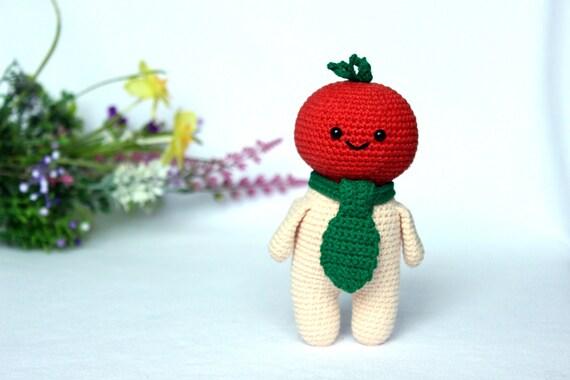 Crochet food doll pattern, Amigurumi tomato toy pattern, Crochet tomato head pattern, Kitchen decor, Crocheted amigurumi food pattern