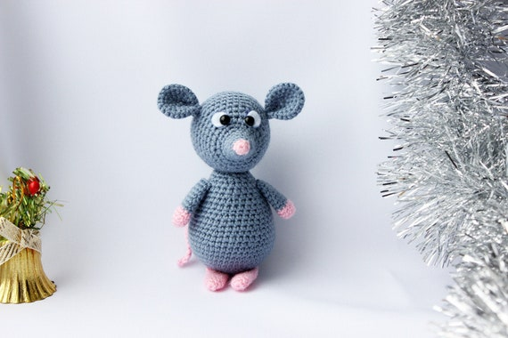 Amigurumi pattern mouse, Crochet pattern doll toy mouse, Crochet rat pattern