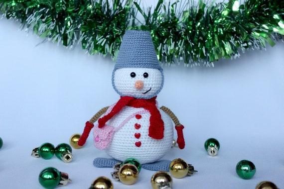 Christmas Snowman pattern, Amigurumi snowman crochet toy