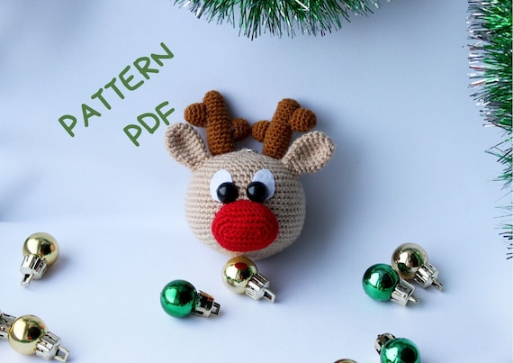 PDF Amigurumi Christmas deer crochet pattern, Christmas crochet Christmas tree decor, DIY handmade gift