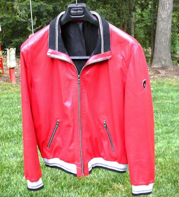 Men's Red Ferrari Leather Jacket Men's Size Large
