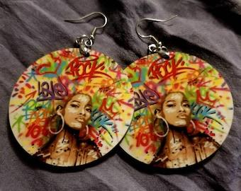 Graffiti Circle Earrings