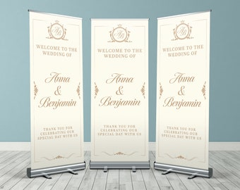 Traditional Cream Custom Wedding Roller Banner, Customised Wedding Roll Up Banner, Personalised Wedding Welcome Sign