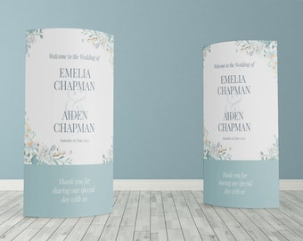 Floral Teal Blue Custom ECO Friendly Wedding Welcome, Customised Wedding Pop Up Banner, Personalised Wedding Welcome Sign