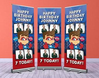 Superhero Custom Birthday Roller Banner, Customised Birthday Roll Up Banner, Personalised Birthday Welcome Sign
